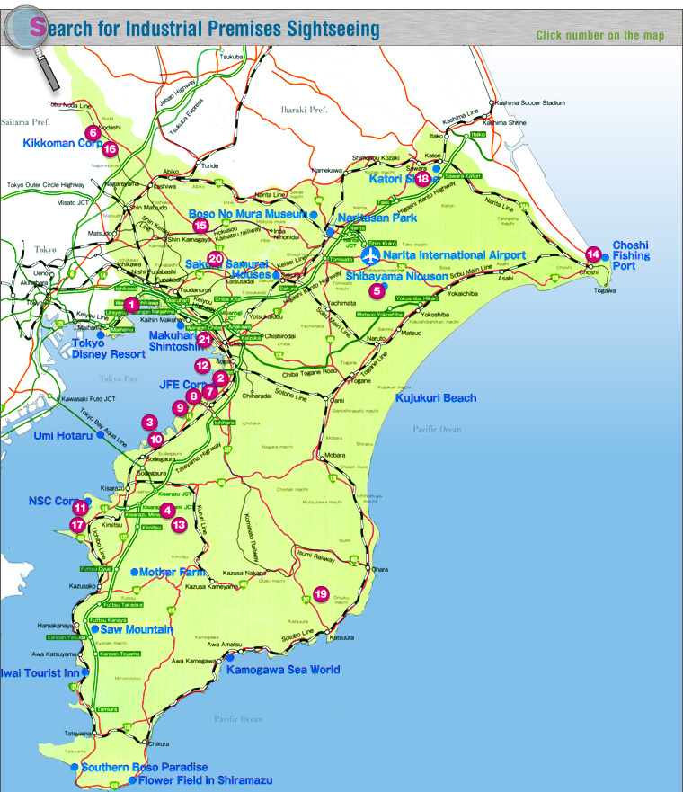 Chiba Prefecture Industrial Sightseeing Tourism - Japan map chiba